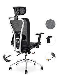 Cadeira de Escritório Cedric CD-874MH ergonómica de Malha com Suporte Lombar e de Cabeça