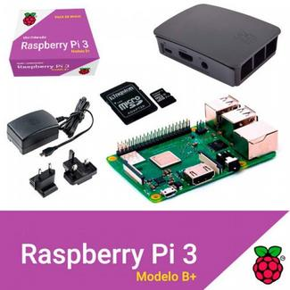 Kit Raspberry Pi 3 Modelo B+ 32GB Noobs+Caixa+Carregador Preto