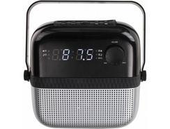 Rádio Despertador CLIPSONIC AR317 (Preto / Cinza – Digital – Alarme Duplo – Função Snooze – Corrente)