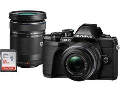 Kit Máquina Fotográfica Mirrorless OLYMPUS E-M10 MKIII DZK IIR + Estojo + SD 16 GB (Preto – 16 MP – Sensor: Micro 4/3 – ISO: até 25 600)