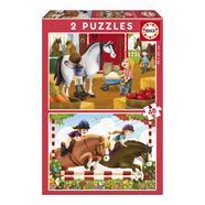 Puzzle 2×48 Peças Cuidando de Cavalos Educa Borrás
