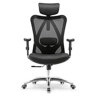 SIHOO Cadeira de Escritório Ergonómica com suporte lombar, apoio para cabeça e braços Preto