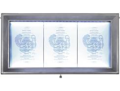 Expositor de Menu SECURIT LED 3 x A4 Cinza
