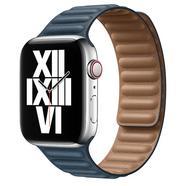 Bracelete de elos em pele azul báltico para Apple Watch de 44 mm Azul