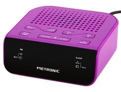 Rádio Despertador Alarme Duplo METRONIC 477012 Lilás
