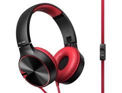 Auscultadores Com fio PIONEER SE-MJ722T-K (Over Ear – Microfone – Vermelho)