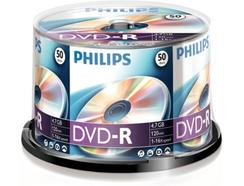 DVD-R PHILIPS 4,7GB 16x Cakebox (50 unidades)