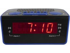 Rádio Despertador CLIPSONIC AR314B (Azul – Digital – Alarme Duplo – Função Snooze – Corrente)