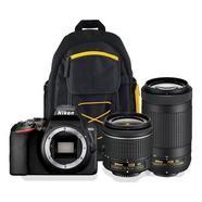 Kit Máquina Fotográfica Reflex NIKON D3500 + 18-55VR + 70-300VR + Mochila (24.78 MP – Sensor DX – ISO: 100 a 25600)