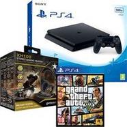 Consola Sony PS4 Slim 500GB – Preto + Grand Theft Auto V PS4 + Headset com fios Gioteck XH 100 Military