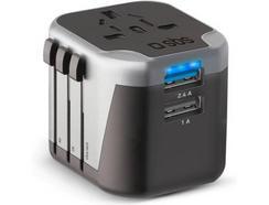 Adaptador Viagem Universal 2x USB SBS Preto