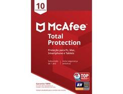Software MCAFEE Total Protection (10 Dispositivos – 1 ano – PC, Mac, Smartphone e Tablet – Formato Digital)