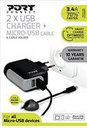 Carregador de Telemóvel Port Designs 2 x USB + Micro USB