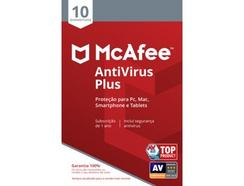 Software MCAFEE AntiVirus Plus (10 Dispositivos – 1 Ano – PC, Mac, Smartphone e Tablets – Formato Digital)