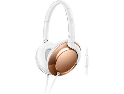 Auscultadores com Fio PHILIPS SHL4805RG(Over Ear – Microfone– Dourado)