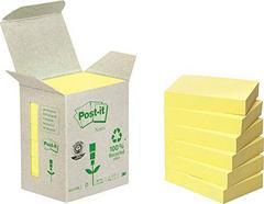 Post-It 653-1B – Pack de 6 blocos reciclados, 100 folhas por bloco, 38 x 51 mm, color amarelo