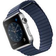 Apple Watch 42mm Aço Inoxidável   Bracelete Pele – Azul Meia-Noite – L
