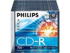 CD-R PHILIPS 80Min 700MB 52x Slim Case (10 unidades)