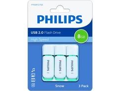 Pen USB PHILIPS Snow 8GB USB 2.0 Azul Pack3