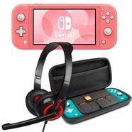 Nintendo Switch Lite Coral + Set Transporte Cinzento + Headset