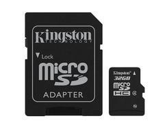 Cartão de Memória MicroSDHC KINGSTON Classe 4 – 32 GB + Adaptador SD