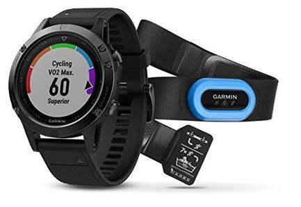 Garmin fēnix 5 47MM Preto Sapphire com bracelete preta, pacote de desempenho