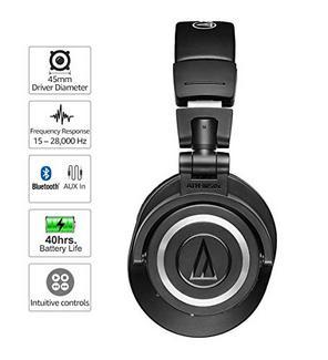 Auscultadores Bluetooth TECHNICA M50XBT (Over Ear – Microfone – Negro)