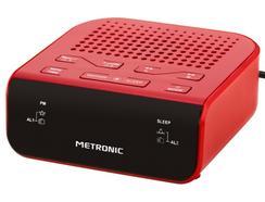 Rádio Despertador Alarme Duplo METRONIC 477011 Vermelho