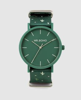 Relógio de mulher Mr. Boho Gomato Cacto 30A-CC tecido verde Verde