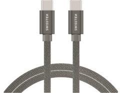 Cabo SWISSTEN Textile (USB-C – USB-C – 1.2 m – Cinza)
