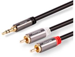 Cabo Áudio Jack MITSAI 3.5mm – 2 RCA (M-M) Dourado 1.5M
