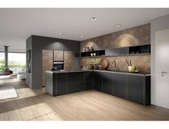 Cozinha Moderna Preta e Dourada