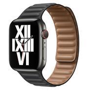 Bracelete de elos em pele preto para Apple Watch de 44 mm Preto