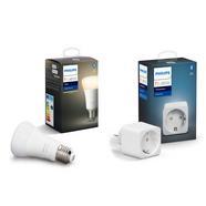 Philips Hue White Pack Lâmpada LED Inteligente E27 9W Branco Quente + Tomada Inteligente