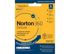 Software NORTON 360 Deluxe ESD 50GB (5 Dispositivos – 1 Ano – Smartphone e Tablet – Formato Digital)