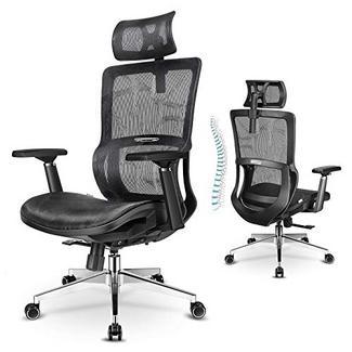 Cadeira de escritório ergonómica MFAVOUR com suporte de cabeça Preto