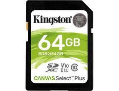 Cartão de Memória KINGSTON 64GB SD Canvas Select Plus 100R C10 UHS-I U1 V10