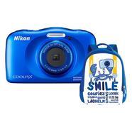 Kit Máquina Fotográfica Compacta NIKON Coolpix W150 + Mochila (Azul – 13.2 MP – ISO: 125 a 1600 – Zoom Ótico: 3x)