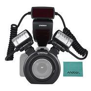 Yongnuo YN24EX E-TTL Flash Macro 5600K com duas cabeças e quatro adaptadores para Canon