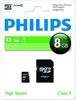 Cartão de Memória MicroSDHC PHILIPS 8GB + Adaptador SD