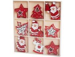 SET 36 Decorações Arvóre Natal ITEM Madeira Vermelho