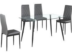 Conjunto Mesa + 4 Cadeiras CSD Princess (Cinzento – Tampo: Vidro Temperado – Pernas: Metal – 75 x 80 x 130 cm)