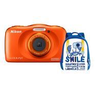 Kit Máquina Fotográfica Compacta NIKON Coolpix W150 + Mochila (Laranja – 13.2 MP – ISO: 125 a 1600 – Zoom Ótico: 3x)