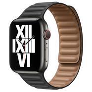 Bracelete de elos em pele preto para Apple Watch de 44 mm Tamanho L Preto