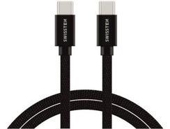 Cabo SWISSTEN Textile USB-C – USB-C 1.2 m Preto
