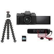 Kit Vlogger Câmara Fujifilm X-T200 + Objectiva XC15-45mm f/3.5-5.6 + Microfone Rode + Tripé Joby – Preto e Prateado