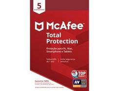 Software MCAFEE Total Protection (5 Dispositivos – 1 ano – PC, Mac, Smartphone e Tablet – Formato Digital)
