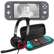 Nintendo Switch Lite Cinzenta + Set Transporte Cinzento + Headset