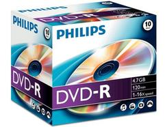 DVD-R PHILIPS 4,7GB 16X Jewel Case (10 unidades)
