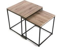 Conjunto de 2 mesas VERSA Castanho Meno